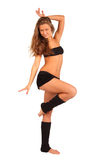 Girl strikes graceful pose isolated Stock Photography