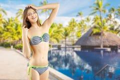 Girl in striped bikini Royalty Free Stock Photo