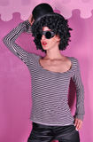 Girl in a striped blouse Royalty Free Stock Images