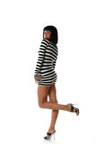 Girl in a striped dress Royalty Free Stock Photo