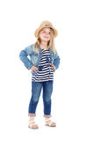 Girl in a striped shirt and hat Royalty Free Stock Images
