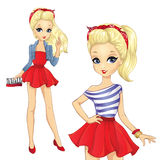Girl In Striped Shirt And Red Skirt Royalty Free Stock Image