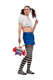 Girl in striped socks Royalty Free Stock Photo