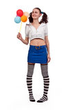 Girl in striped socks Stock Images
