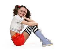 Girl in striped socks Stock Photography