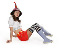 Girl in striped socks Stock Photos