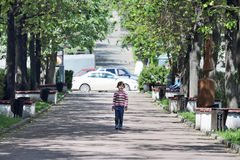 Girl in striped sweater walking on avenue between trees Royalty Free Stock Photos