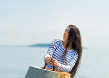 Girl in a striped T-shirt. Royalty Free Stock Photo