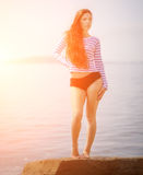 Girl in a striped T-shirt. Stock Images