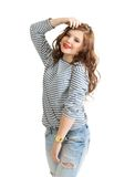 Girl in a striped vest Royalty Free Stock Image