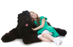 Girl stroking a dog royalty free stock photo