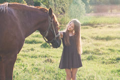 Girl stroking her horse and smiling. On the sunset field Royalty Free Stock Photo