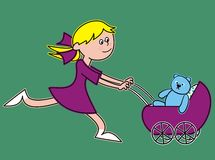 Girl and stroller Royalty Free Stock Photos