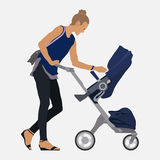 Girl with a stroller, walk with the child, mom and baby Royalty Free Stock Photography