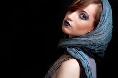 Girl with strong dark makeup Stock Photography