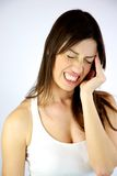 Girl with strong headache. Girl with very strong headache Royalty Free Stock Photo