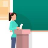Girl Student Answer Over Tribune Chalkboard University Education. Flat Vector Illustration Royalty Free Stock Images