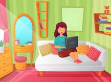 Girl student bedroom. Teenager apartment room, online study at home and woman student reading on laptop computer cartoon vector illustration