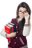 The girl the student with books in hands Stock Photos
