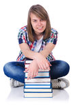 Girl student with books Royalty Free Stock Photo