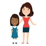 Girl student character with teacher isolated icon Stock Photography