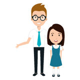 Girl student character with teacher isolated icon Stock Image