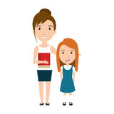 Girl student character with teacher isolated icon Stock Photo