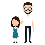Girl student character with teacher isolated icon Royalty Free Stock Image