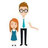 Girl student character with teacher isolated icon Stock Photos