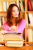 Girl student in college library Stock Images