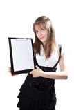 Girl the student with documents Royalty Free Stock Images
