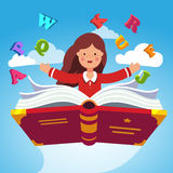 Girl student flying on a magical primer ABC book. Girl student or preschooler flying in the sky on a magical primer ABC book. Knowledge power concept. Flat style Royalty Free Stock Photo