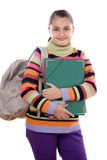 Girl student with folder and backpack Royalty Free Stock Image