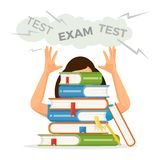 Girl student gets ready for exam test with textbooks pile. Female character sits behind thick books and feels strong stress isolated vector illustration Vector Illustration