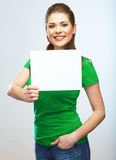 Girl student hold white blank board. White background young wom Royalty Free Stock Photos