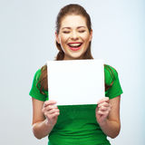 Girl student hold white blank board. White backgro Stock Images