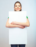 Girl student hold white blank board. White background young wom Stock Photo