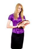 A girl student holds a book Royalty Free Stock Image