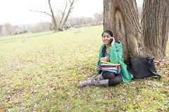 Girl student in outdoor Royalty Free Stock Images
