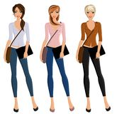 Girl student portrait set. Young beautiful happy girls student set with bags and device portrait isolated vector illustration Royalty Free Stock Images