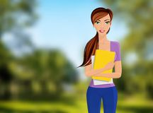 Girl student portrait. Young beautiful happy girl student with books and notebooks portrait on outdoor background vector illustration Royalty Free Stock Image