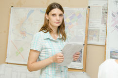 Girl student preparing for the delivery of the diploma Stock Images