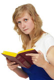The girl - student reading textbook Royalty Free Stock Images