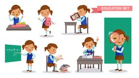 Girl student. Set. Cute little girl in School uniform, Eat lunch box, backpack, Read e-reader, write on the blackboard, reading books, raise hands, Stand up the royalty free illustration