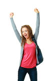 Girl student showing success. Happy student girl raising her hands showing success royalty free stock photography