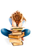 Girl student in studio shows fatigue Royalty Free Stock Photo