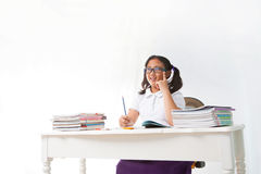 Girl student studying in class room Royalty Free Stock Photos