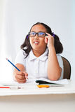 Girl student  studying  and in class room Stock Photography
