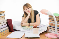 Girl student at a table with a pile of books, drawings and projects sitting sadly leaning on hand and eyes closed Royalty Free Stock Image