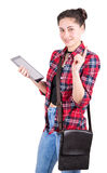 Girl student with tablet draws attention Royalty Free Stock Photography